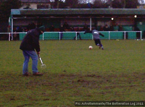 Our local football club: groundsman on at half time