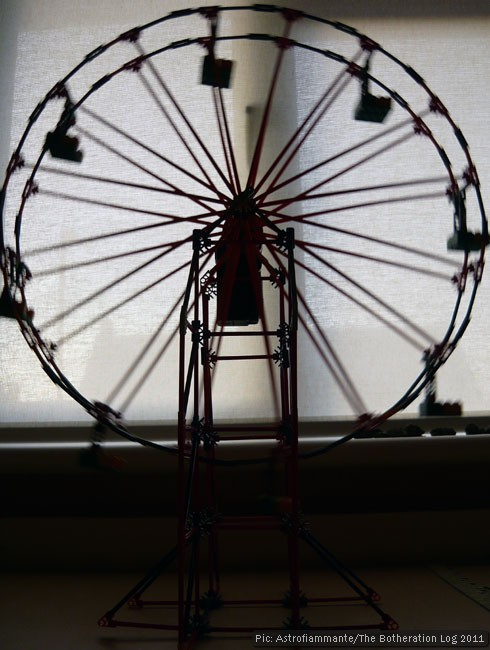 Silhouette of a model Ferris wheel