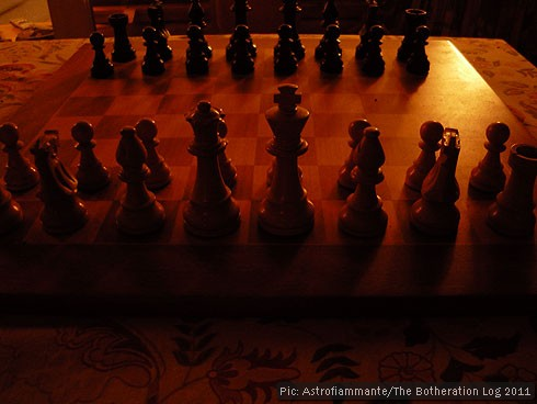 Chess board set for the beginning of a game