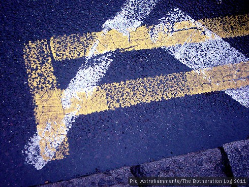 Lines and road markings painted on tarmac