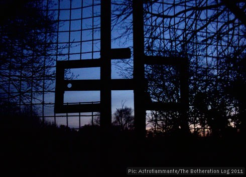 Gate to playing field at twilight