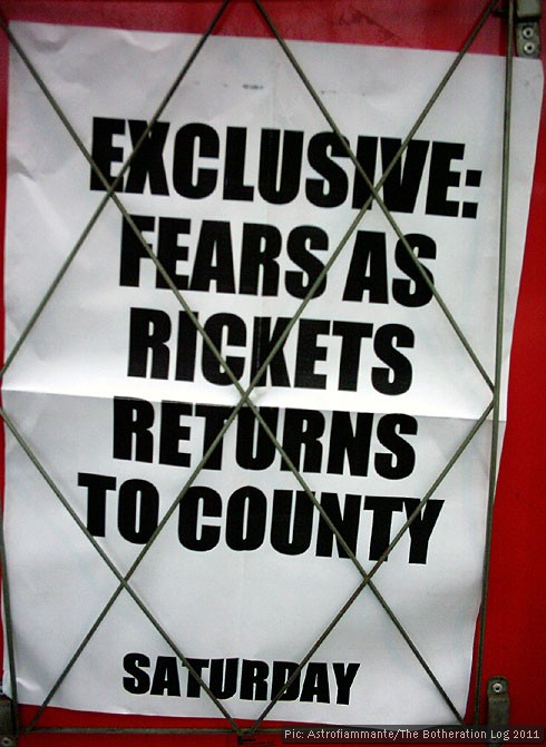 Cambridge Evening News billboard: Exclusive - fears as rickets return to county