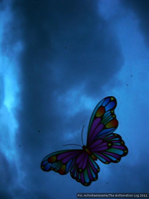 Butterfly window sticker against a dark, cloudy sky.