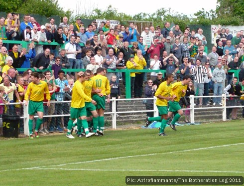 Footballers celebrating with home fans after a goal