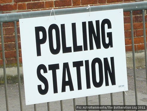 A UK polling station sign