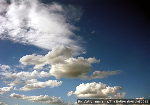 Cumulus and altocumulus clouds over farmland