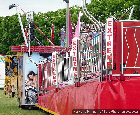 Fairground ride labelled 'Extreme'