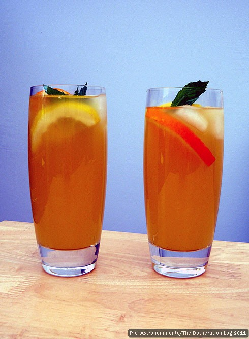 Two glasses of home-made fruit drink
