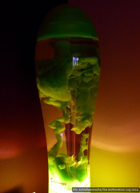 Green wax in a Mathmos Fluidium lava lamp