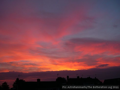 Violet, deep pink, gold and purple sunset