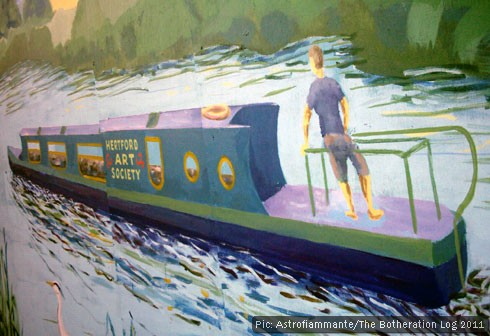 Mural showing a passing narrowboat