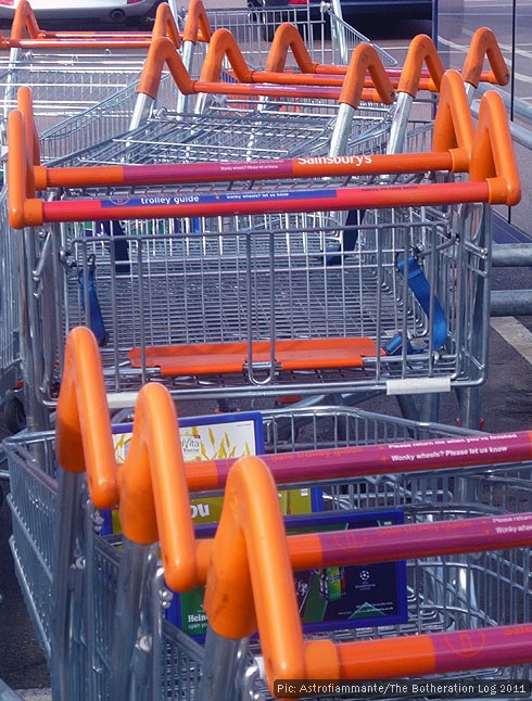 Returned supermarket trolleys waiting for collection