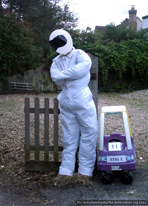 Scarecrow dressed as BBC TV character The Stig