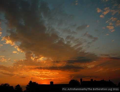 Blue and orange sunset with altocumulus cloud