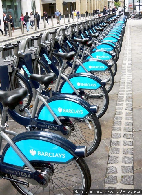 Boris Bikes at their stands in the City of London