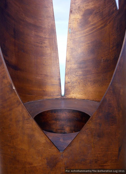Detail from interior of metal sculpture