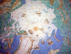 The Polar Museum's famous painted ceiling, with the North Pole shown