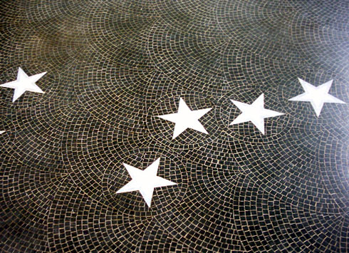 Stars on a mosaic floor at the Polar Museum, Cambridge