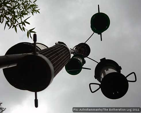 Bird feeders against a cloudy sky