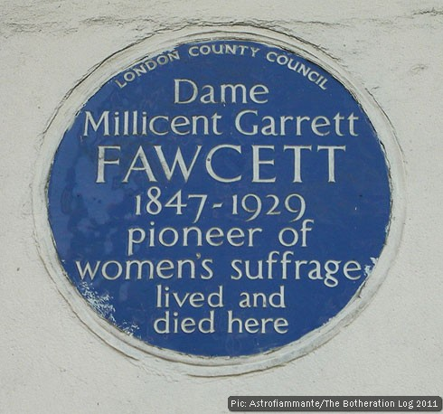 Blue plaque on the home of Dame Millicent Garrett Fawcett in Bloomsbury, London