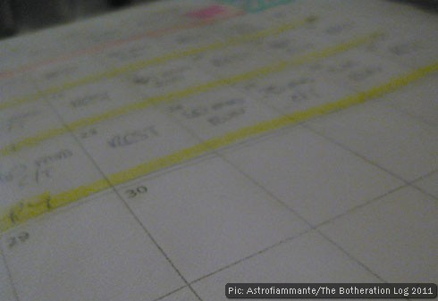 Calendar with highlighted appointments written in