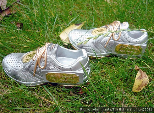 Running trophies in the shape of training shoes on a grassy lawn
