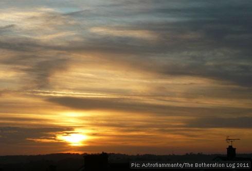 Gold, orange, blue and grey November sunset