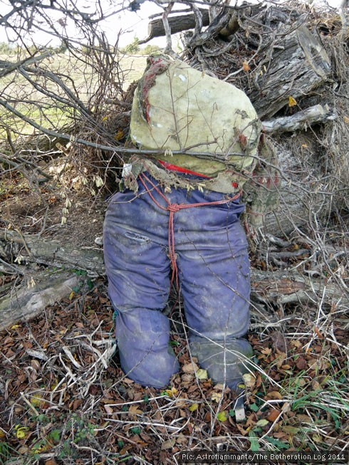Torso of an abandoned scarecrow propped against logs