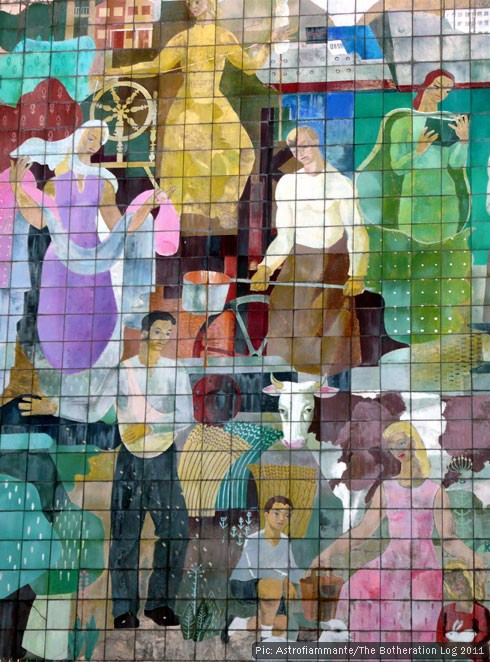 Mural depicting people practising various historic trades overlooking Town Square, Stevenage