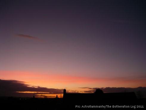 Purple and pink-orange sunset sky