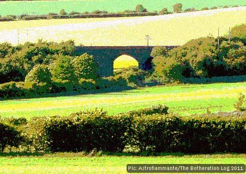 Railway bridge among fields