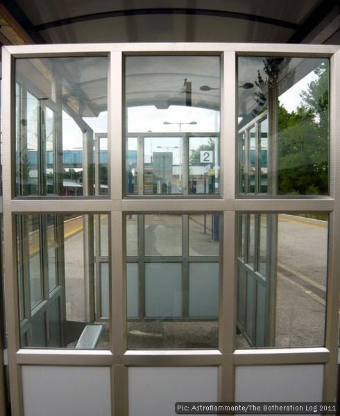 Geometric pattern on station platform shelter