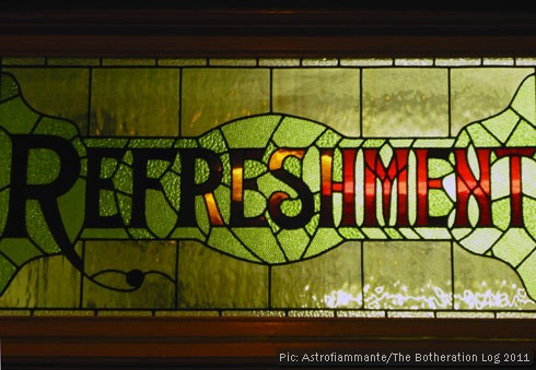 Stained-glass window above station cafe entrance