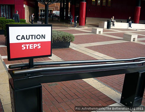 Notice alerting pedestrians to the presence of steps