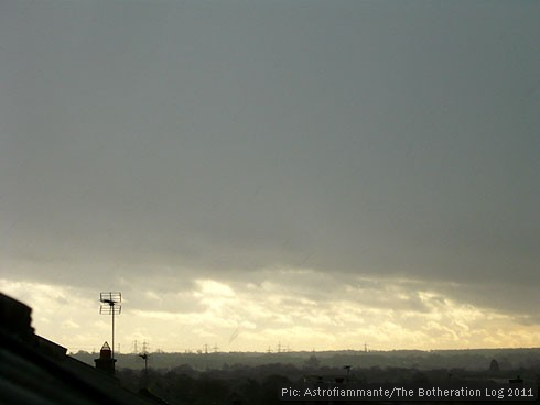 Grey sky with pale clouds near the horizon