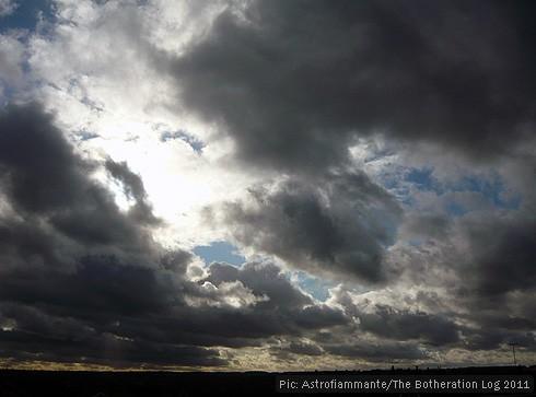 Black and white cumulus clouds