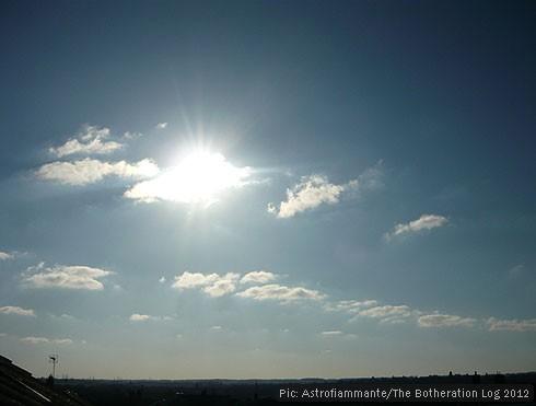 Scattered cumulus cloud in a sunny sky